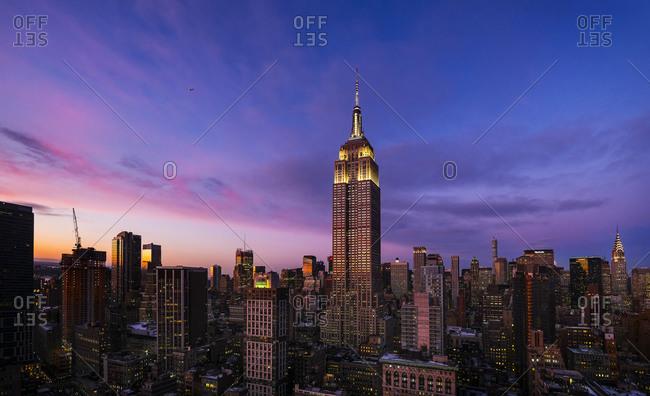 New York, NY, USA - February 10, 2015: Empire State Building at dusk