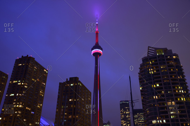 Toronto, Canada - December 9, 2014: CN Tower in the evening
