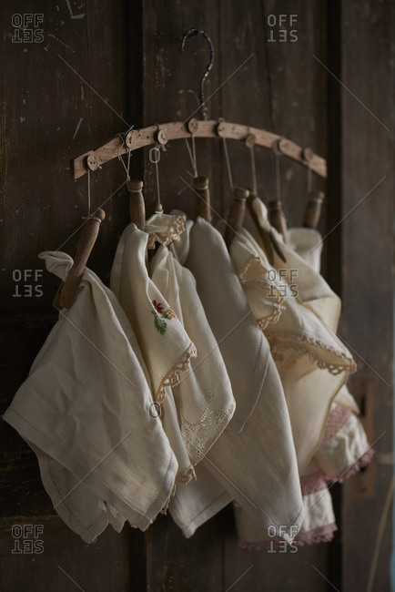 Linens hanging on clothespins