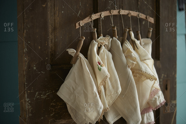 Linens hanging by clothespins