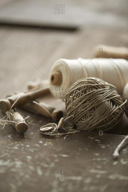 Clothespins and yarn on door