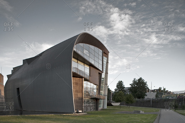 Helsinki, Finland - March 31, 2015: The curved wall of the exterior of the modern art museum in Helsinki, Finland