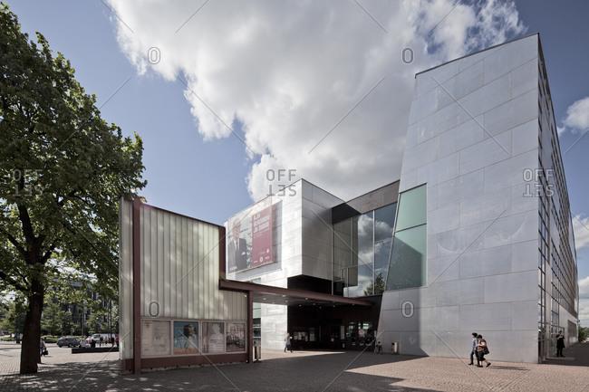 Helsinki, Finland - March 31, 2015: The entryway to the Finnish museum of modern art in Helsinki