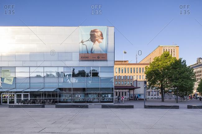 Helsinki, Finland - March 31, 2015: The flat side of the Finnish museum of modern art in Helsinki