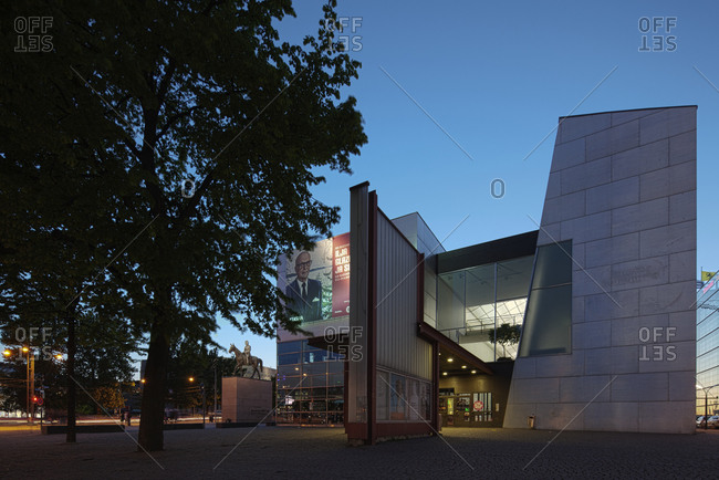 Helsinki, Finland - March 31, 2015: The entrance to the museum of modern art in Helsinki at dusk