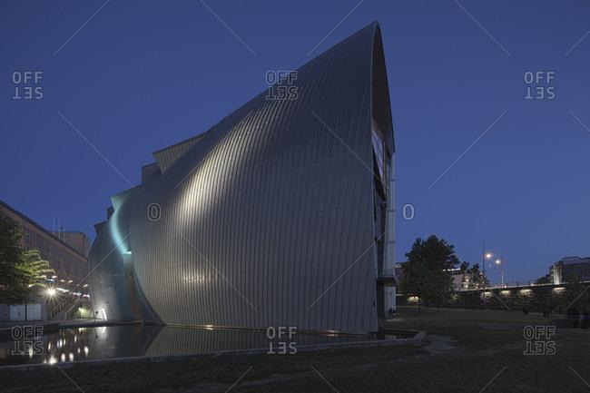 Helsinki, Finland - March 31, 2015: An exterior corner of the modern art museum in Helsinki at dusk