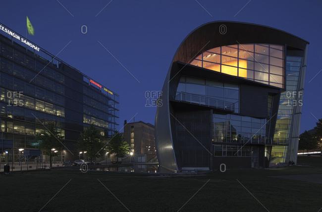 Helsinki, Finland - March 31, 2015: An exterior wall of the modern art museum in Helsinki at dusk