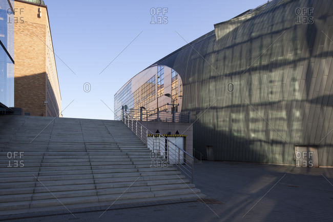 Helsinki, Finland - March 31, 2015: Light reflections on the wall of the modern art museum in Helsinki, Finland