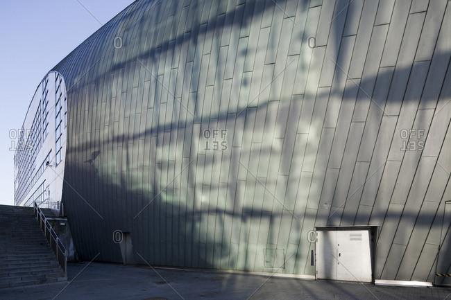 Helsinki, Finland - March 31, 2015: Light reflects off the wall of the modern art museum in Helsinki, Finland
