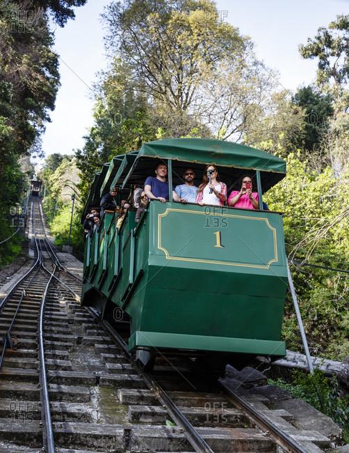 Santiago, Chile - September 21, 2014: Funicular ride to Cerro San Cristobal, Santiago, Chile