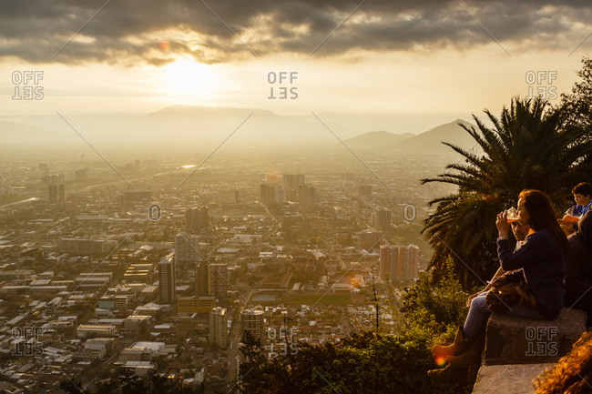 Santiago, Chile - September 22, 2014: Enjoying view from Cerro San Cristobal, Santiago, Chile