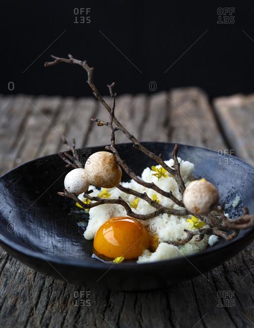 Chirimoya desert dish in Chilean restaurant