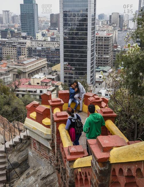 Santiago, Chile - September 23, 2014: Tourists at fort, Cerro Santa Lucia, Santiago, Chile