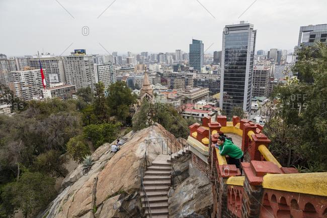 Santiago, Chile - September 23, 2014: Tourists at fort on Cerro Santa Lucia, Santiago, Chile