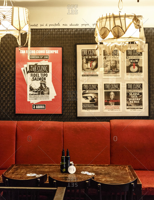 Santiago, Chile - September 22, 2014: Empty trendy bar seating in Santiago, Chile