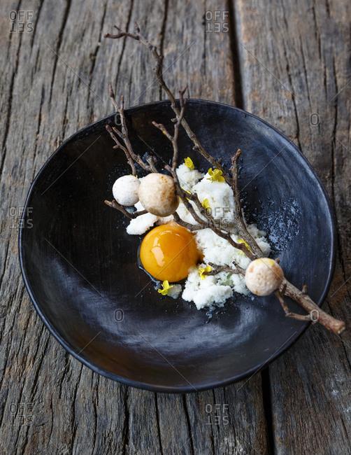 Innovative desert made with chirimoya and cake