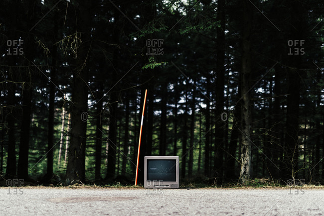 Television discarded on a road near a forest