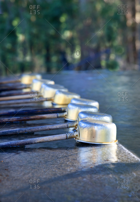 Water ladles at Shinto shrine in Japan