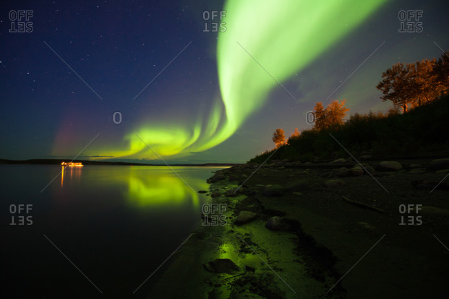Aurora borealis display over Northwest Territories, Canada