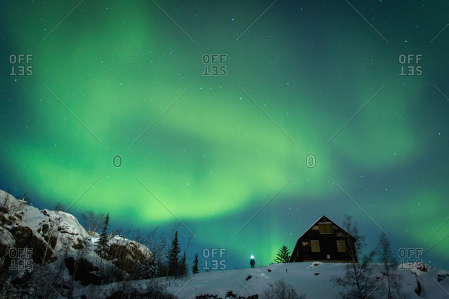 Aurora borealis over Canadian wilderness