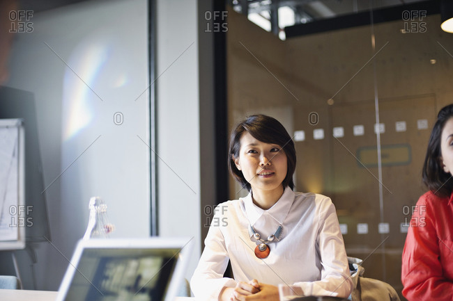 Professional young woman sitting in a meeting