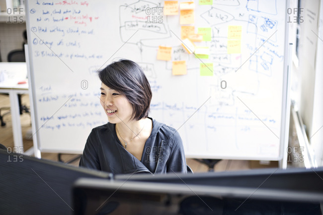 Woman seated before two monitors in a creative agency