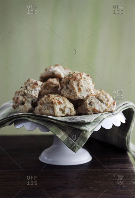 Biscuits served on a dessert stand