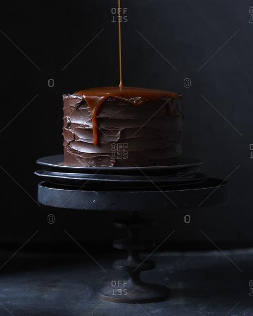 Carmel sauce on a chocolate cake