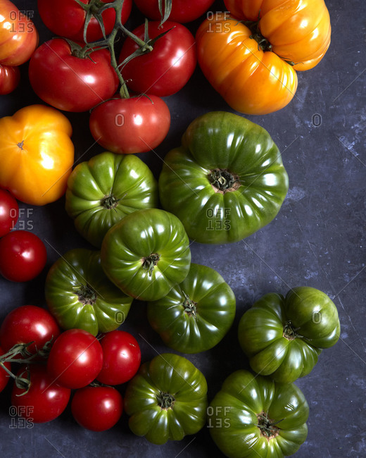 A mixed variety of tomatoes