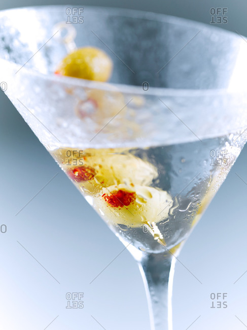 Martini garnished with olives