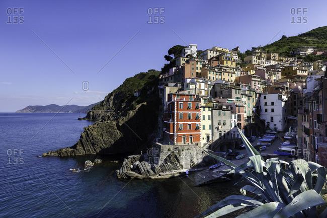 The cliff top village of Riomaggiore in Cinque Terre, Liguria, Italy
