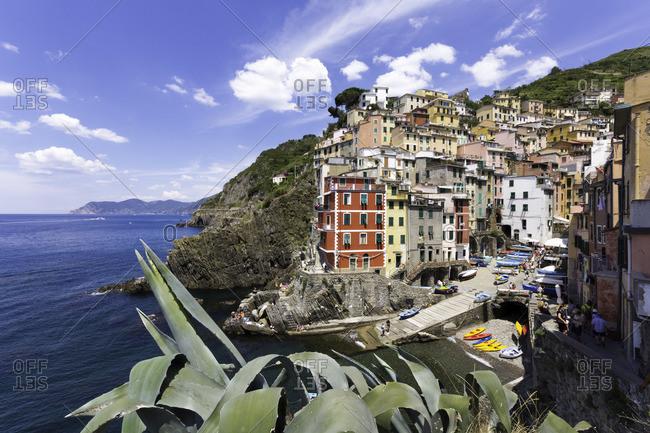 The clifftop village of Riomaggiore, in Cinque Terre, Italy