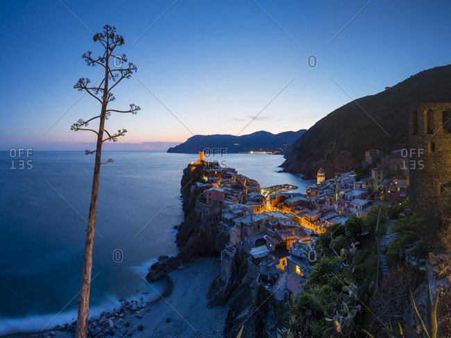 Dusk at Vernazza, Cinque Terre in Italy