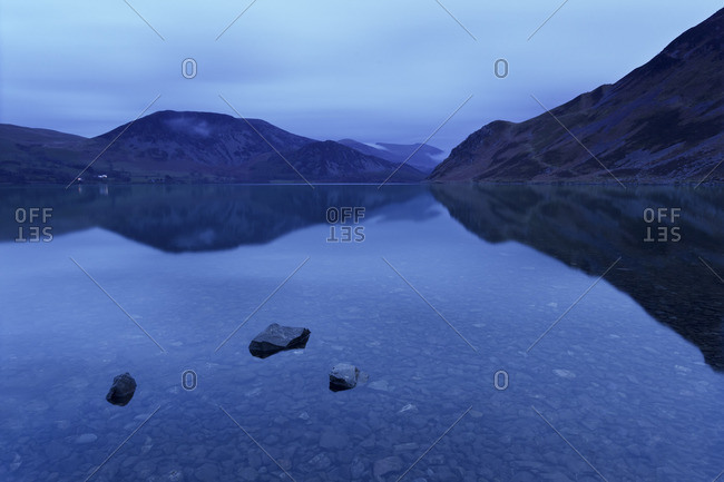 Ennerdale Water after dusk athe the Lake District National Park, Cumbria, England
