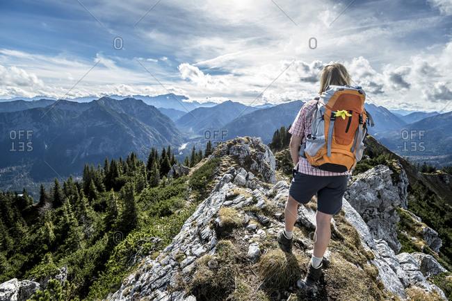 Hiker standing on Teufelstattkopf mountain in Germany