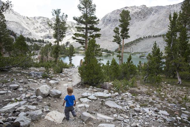 Small boy in Eastern Sierra mountains
