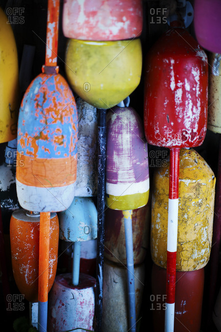 Nautical buoys, close up, Massachusetts