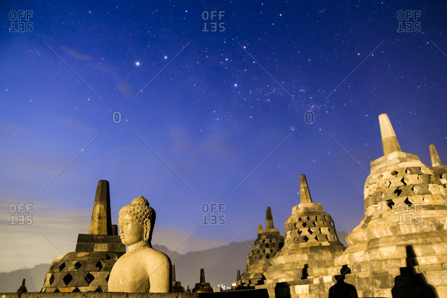 Stars over the Buddhist stupa and temple complex, Borobudur, Indonesia