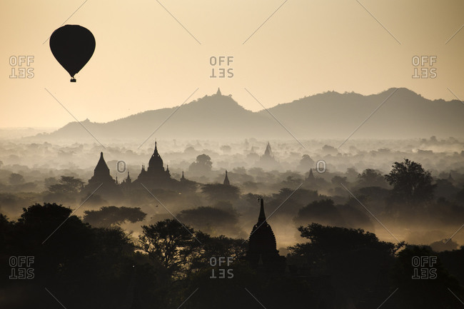 Hot air balloons over temples of Bagan, Myanmar
