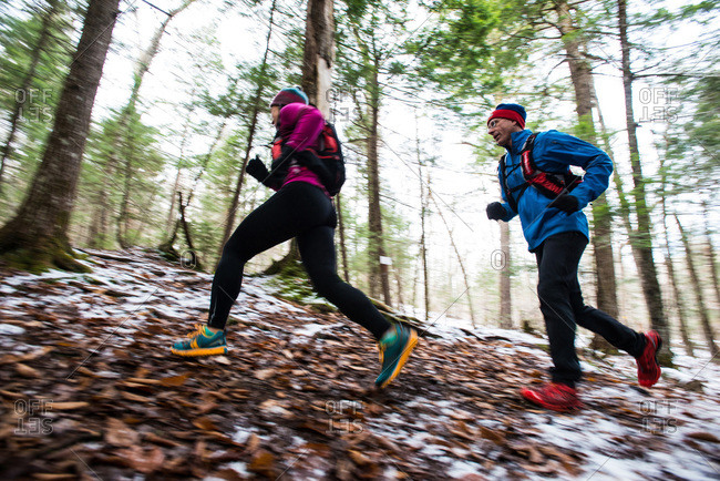 Running through snowy woods in White Mountains, New Hampshire