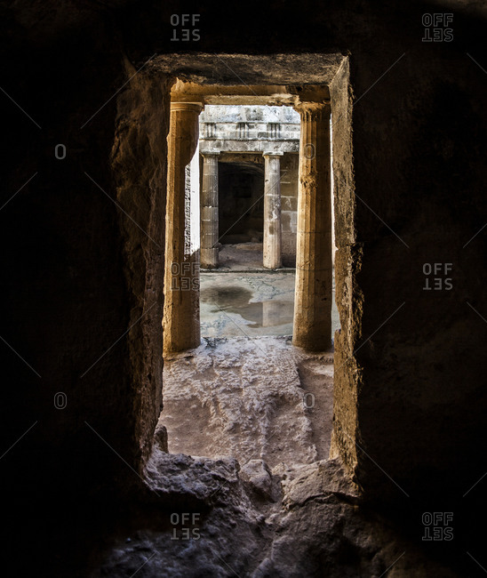 Entrance to a tomb at the Tomb of Kings in Paphos, Cyprus