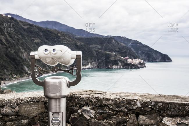 Binoculars along the coastline of Cinque Terre in the Italian Riviera