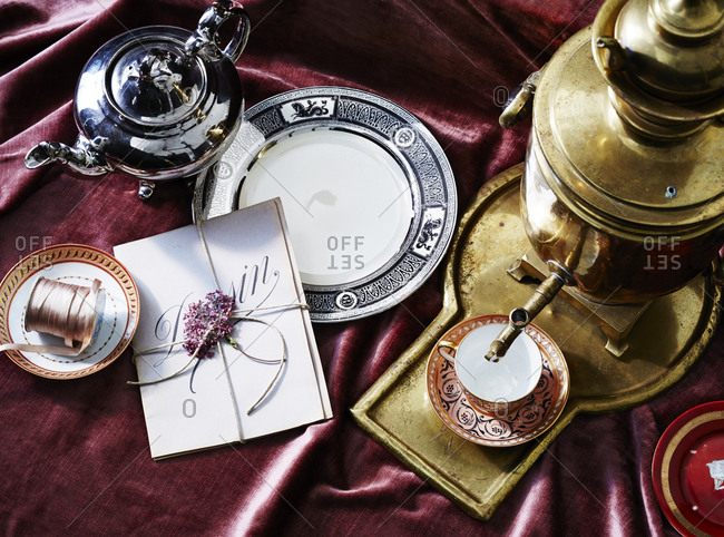 Overhead view of a Russian tea set-up