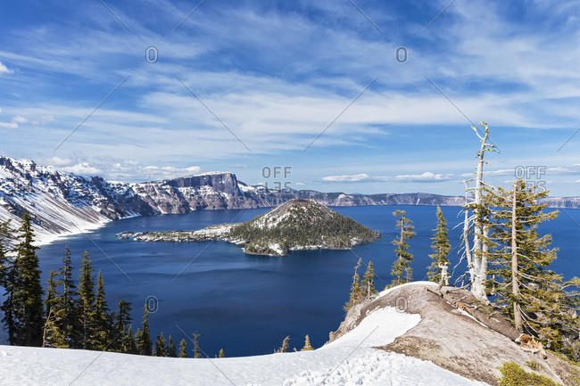 Vulkan Mount Mazama, Crater Lake and Wizard Island, Oregon