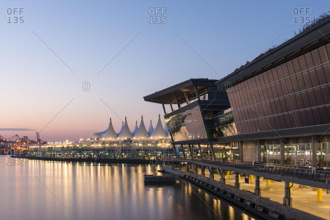 Vancouver, Canada - August 25, 2014: Canada Place at sunset, Vancouver