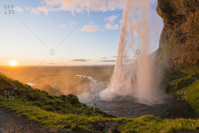 View to Seljalandsfoss at twilight, Iceland