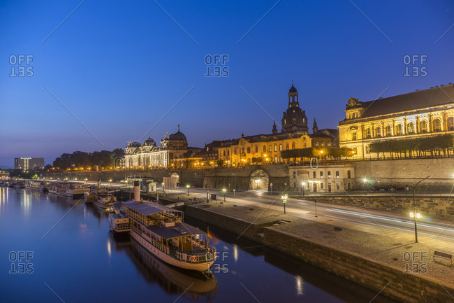 View to lighted old city in the morning, Dresden