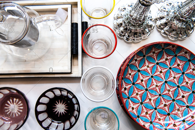 Colorful dishware on a table