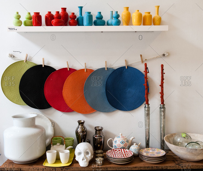 Different kitchenware on display