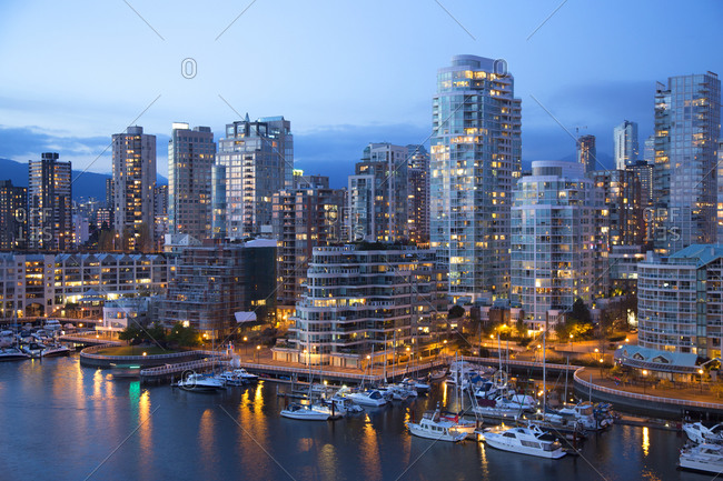 Modern apartment buildings in the West End, near Granville Island, Vancouver, Canada